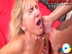 Horny granny has some wild sex sucking a younger dude