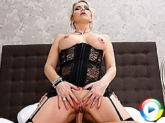 Sexy German Milf blows her hung toyboy as fuck she lowly gets throat fuc