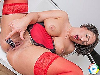 Horny step mom sticks out all her toy sprays play by showing what her li