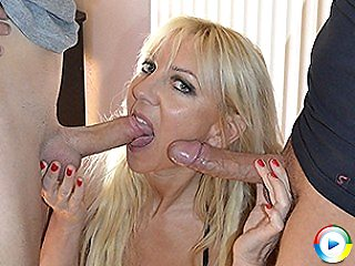 Naughty French Milf kristal sucks huge loads up skirt and gets black tit