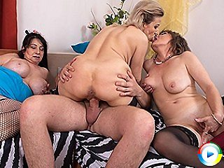 Two Milfs muffdiving 69 game and a grandma share a toyboys big thick coc