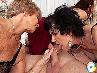 Three horny houswives share their toyboys cock during groupsex