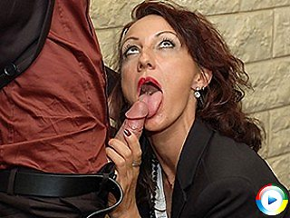 Horny French business woman sucks her young employees cock sucking and g