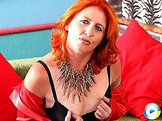 Naughty red rubber lingerie exposing hot fucking mature plump nude chubb