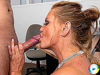 Busty German secretary blows dick and fucks her young applicant during j